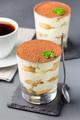Traditional italian Tiramisu dessert cake in a glass, decorated - PhotoDune Item for Sale