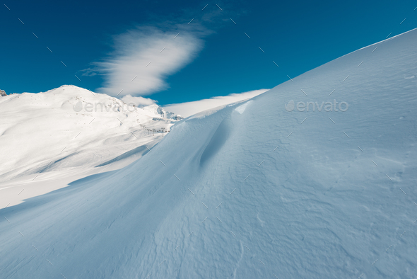 beautiful snow view with cableway - Stock Photo - Images