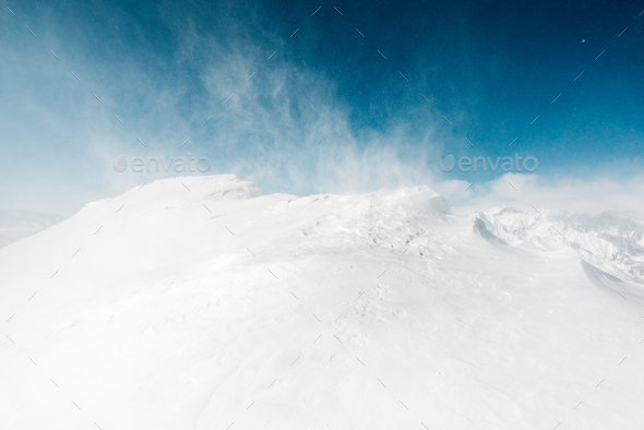 beautiful snow view with snowstorm - Stock Photo - Images