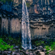 Landscape view of beautifol Svartifoss waterfall and volcanic rock walls, Iceland - PhotoDune Item for Sale