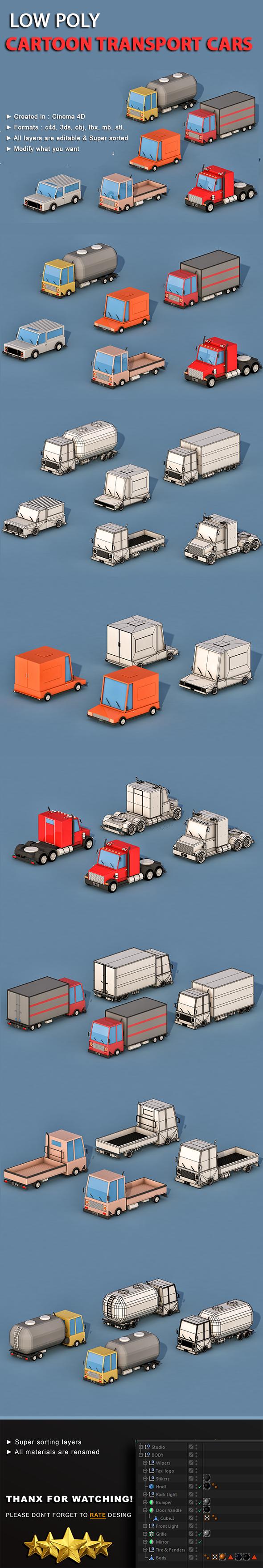 Cartoon Transport Cars v1 - 3DOcean Item for Sale