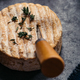 Close-up of Soft French Cheese on Rustic Table - PhotoDune Item for Sale