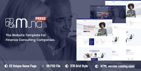 Muna - Finance Consulting PSD Template
