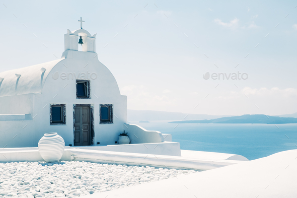 Traditional mediterranean white church in minimalistic design, Greece - Stock Photo - Images