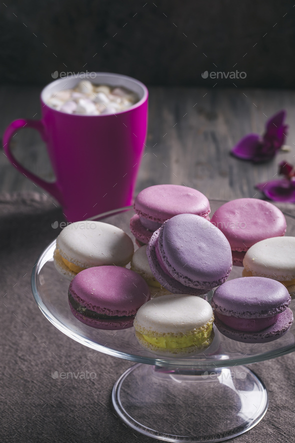 Macaroons on plate - Stock Photo - Images