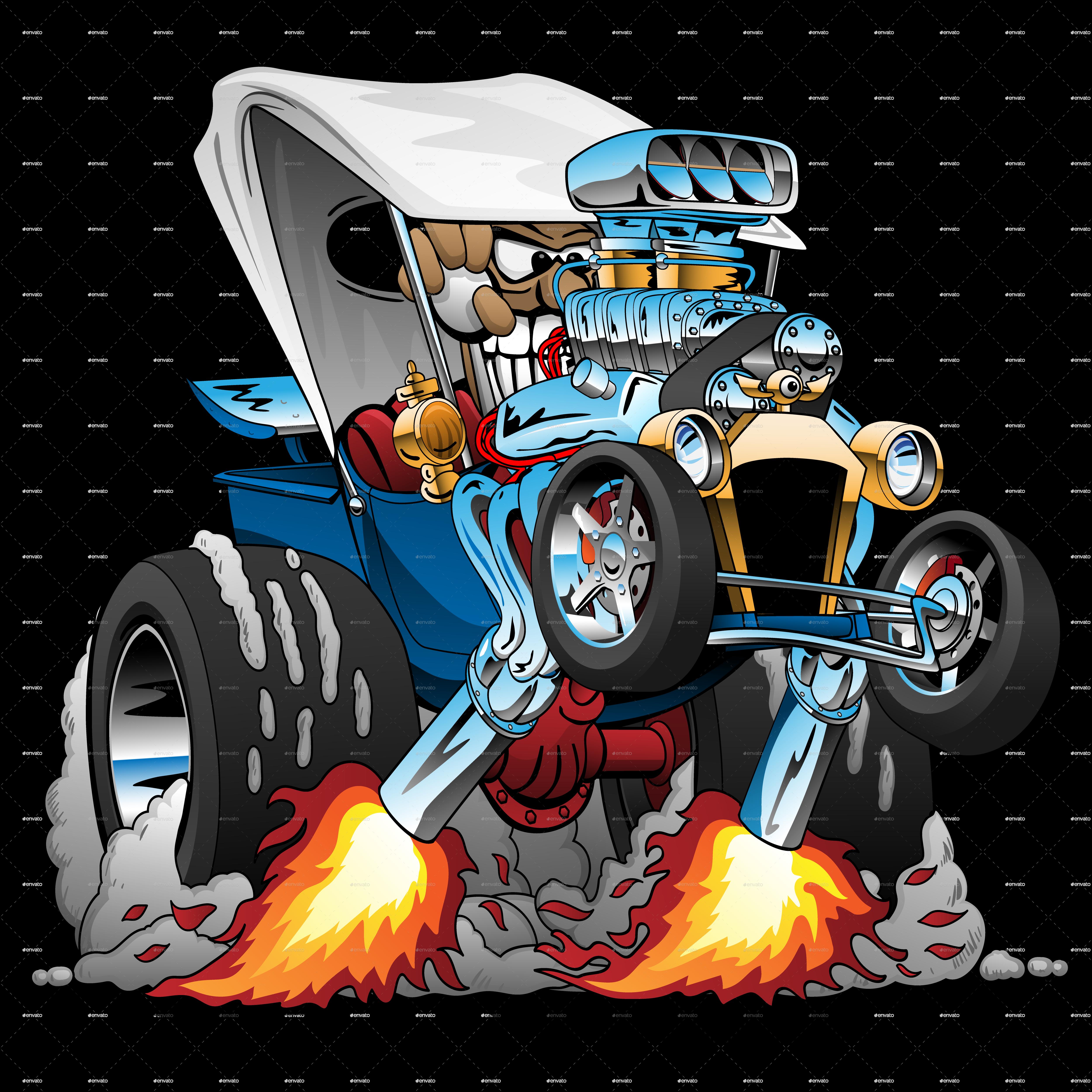 custom tbucket roadster hotrod cartoon by jeffhobrath
