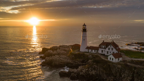 Famous Portland Head Light Atlantic Coast Lighthouse - Stock Photo - Images