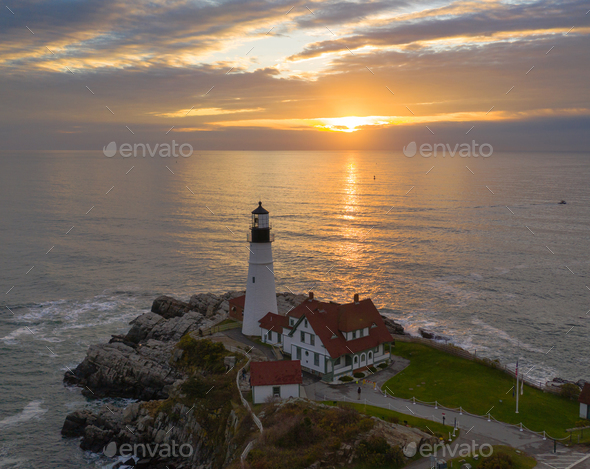 Aerial view Portland Head Lighthouse tower State of Maine - Stock Photo - Images
