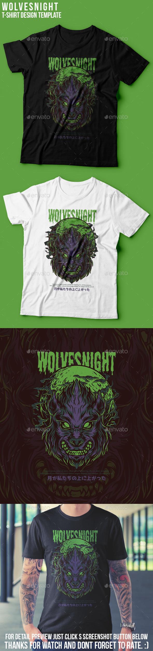 Wolves Night T-Shirt Design