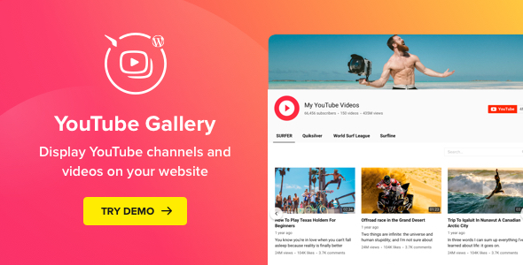 YouTube Plugin – WordPress Gallery for YouTube