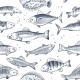 Sketch Fishes Seamless Pattern. Etched Ocean Fish - GraphicRiver Item for Sale