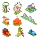 Amusement Park Isometric Elements. Ferris Wheel - GraphicRiver Item for Sale