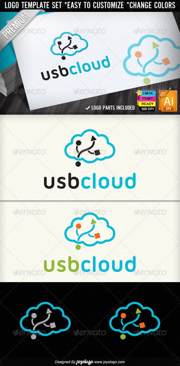 Flash Disc USB Cloud Computing Logo Designs - Objects Logo Templates