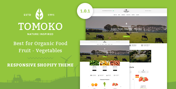 Tomoko - Organic Food/Fruit/Vegetables Responsive Shopify Theme