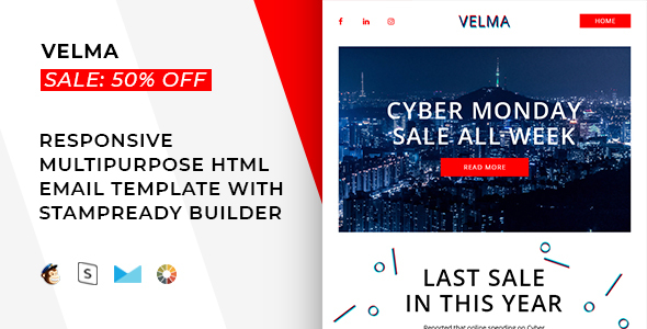 Velma – Responsive Email + StampReady Builder & Mailchimp