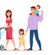 Family Walking Cartoon - GraphicRiver Item for Sale
