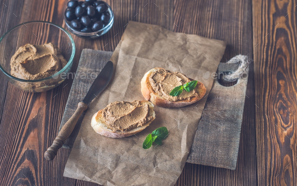 Toasts with chicken liver pate - Stock Photo - Images