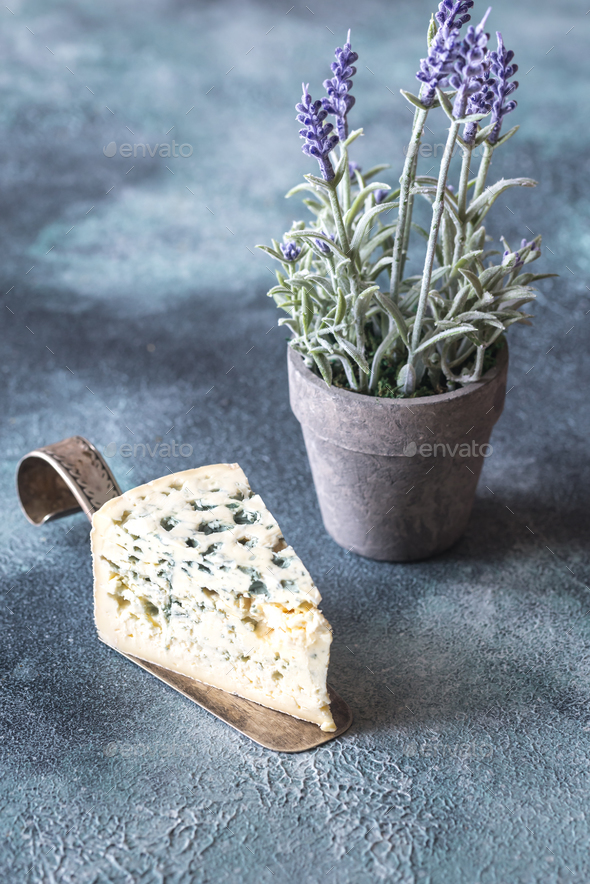 A wedge of blue cheese - Stock Photo - Images