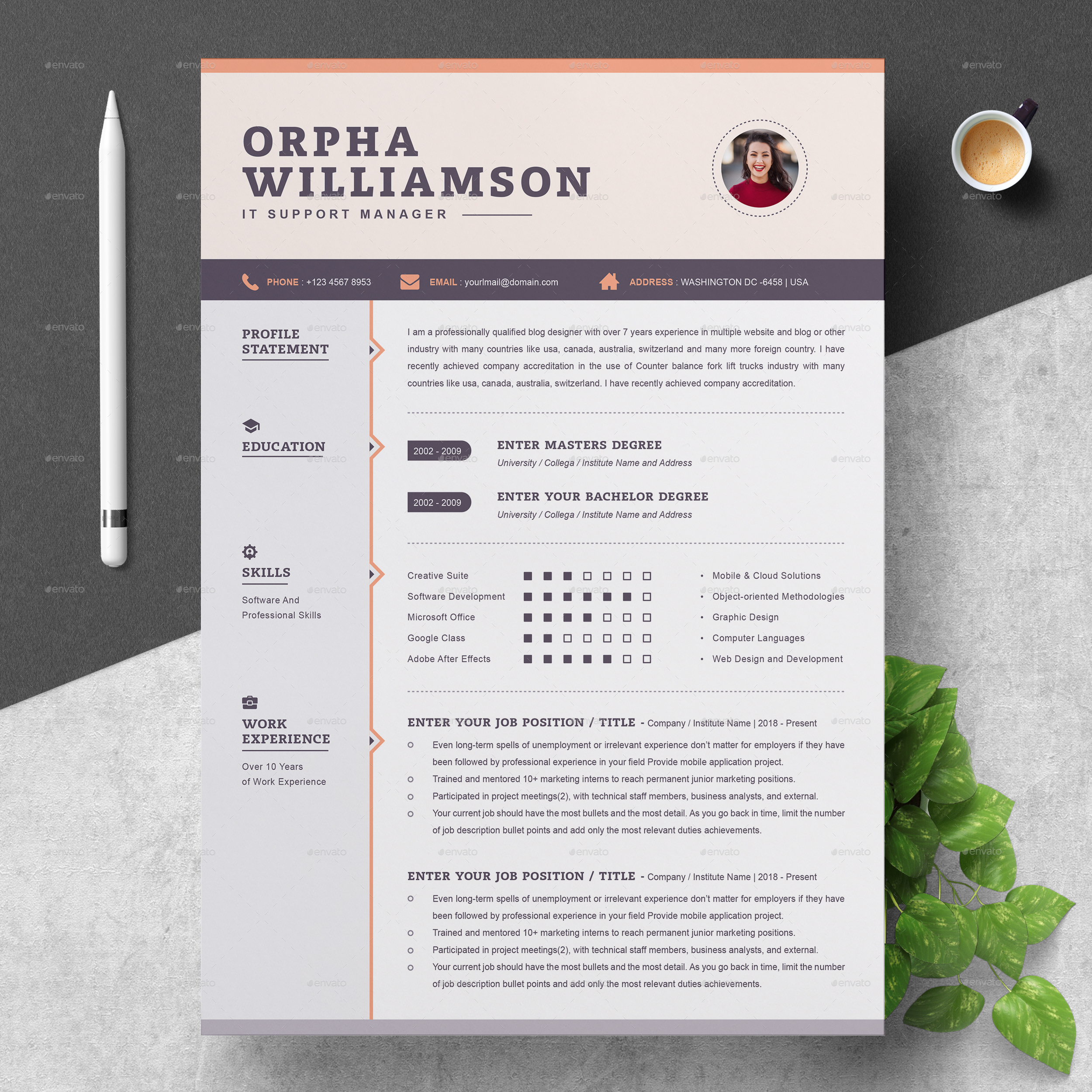 Resume By Resumeinventor Graphicriver