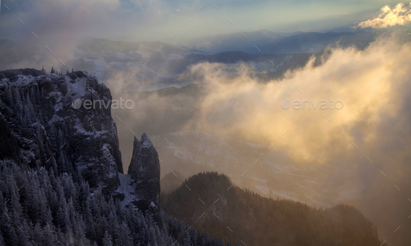 Trees covered with hoarfrost and snow in winter mountains - Holi - Stock Photo - Images
