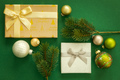 Christmas decoration background green with gift box - PhotoDune Item for Sale