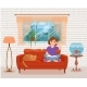 Young Woman Reading Book Sitting on the Sofa - GraphicRiver Item for Sale