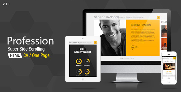 Profession - One Page CV Resume Theme - Personal Blog / Magazine