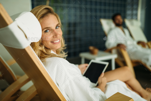 Portrait of a beautiful healthy woman relaxing - Stock Photo - Images