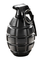 Black grenade standing upright with the pin in - PhotoDune Item for Sale