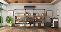 Modern office with bookcase and desk - PhotoDune Item for Sale