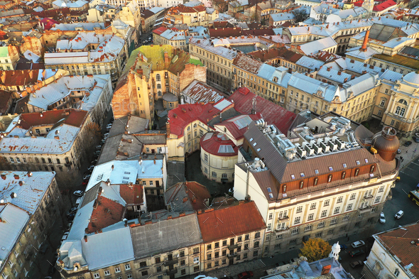 Aerial view of the historical center of Lviv, Ukraine. UNESCO's - Stock Photo - Images
