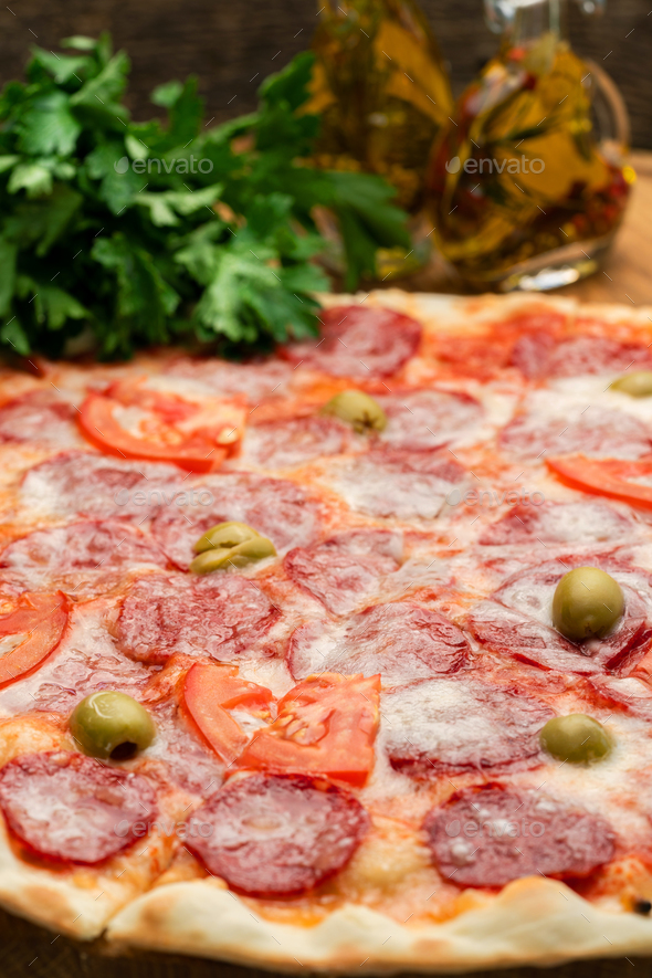 Hot homemade italian pizza - Stock Photo - Images