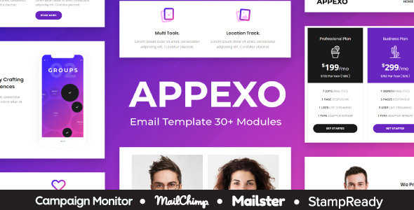 Appexo - App Responsive Email Template + Mailster + StampReady Builder + Mailchimp Editor - Newsletters Email Templates