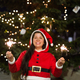 Holidays, happiness, people concept - young woman in christmas suit smiling near the christmas tree - PhotoDune Item for Sale