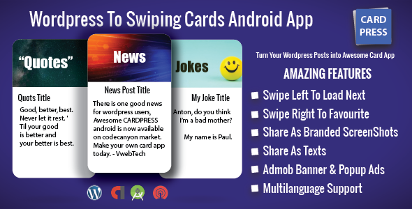 CardPress - Jokes - Quotes - News - Android App For Wordpress - CodeCanyon Item for Sale