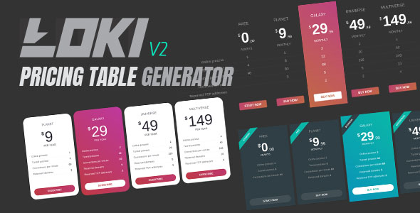 Loki Pricing Table Generator - CodeCanyon Item for Sale
