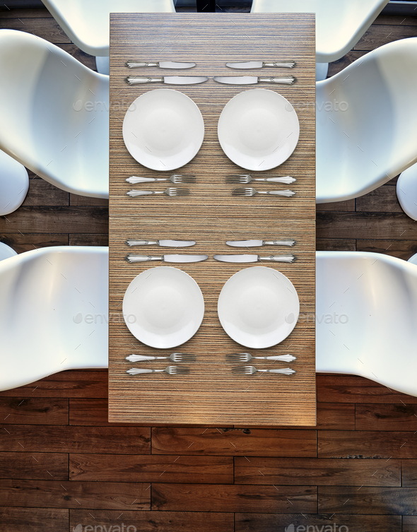 Top view from above on four empty plates on wooden table. - Stock Photo - Images