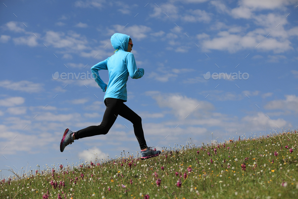 Running under blue sky - Stock Photo - Images