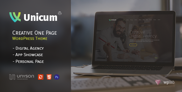 Unicum - One Page Creative WordPress Theme With RTL Support