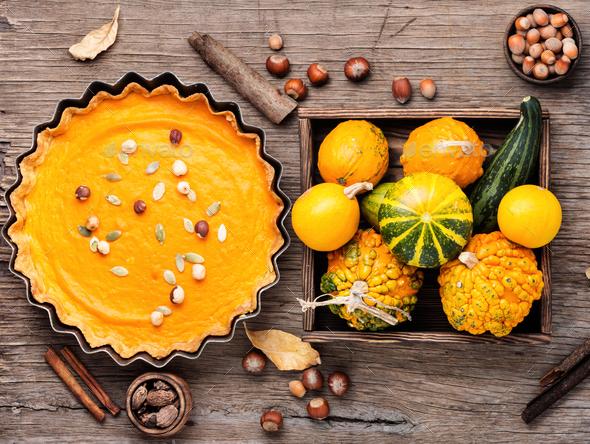 Festive pumpkin pie - Stock Photo - Images