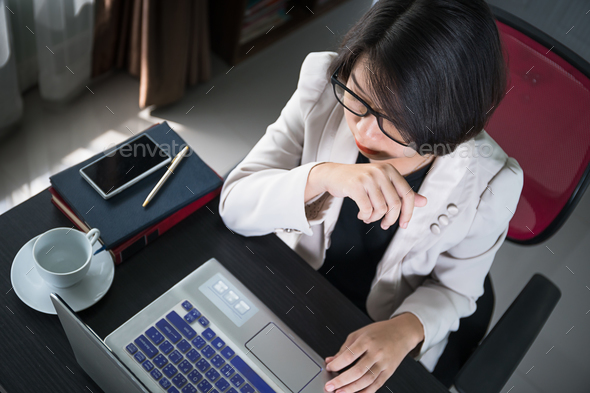 Young woman in smart casual wear working on laptop-14 - Stock Photo - Images