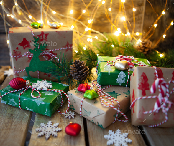 Gift Wrapped Little Presents For Christmas Stock Photo By Barbaraneveu