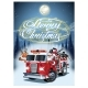 Cartoon Retro Christmas Poster with Firetruck - GraphicRiver Item for Sale