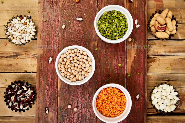 Collection set of beans and legumes. Bowls of various lentils - Stock Photo - Images