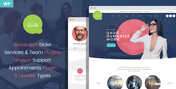 Qhab - Сoworking and Office Space WordPress Theme - Business Corporate