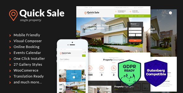 Quick Sale | Single Property Real Estate WordPress Theme