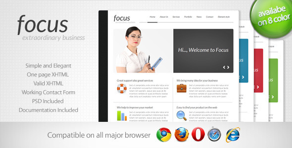 Focus - Simple One Page Template 2 by Indonez