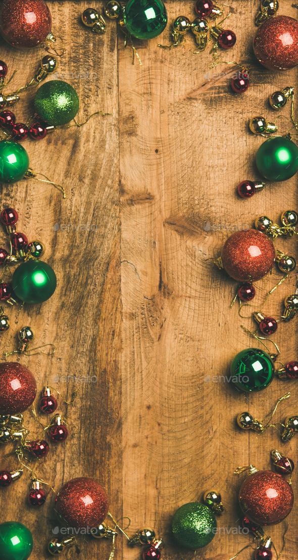 Christmas Tree Background.Christmas Tree Decoration Balls On Wooden Background Vertical Composition