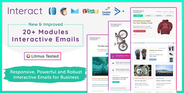 Interact - Pack of 5 Interactive Email Templates + Robust Editor