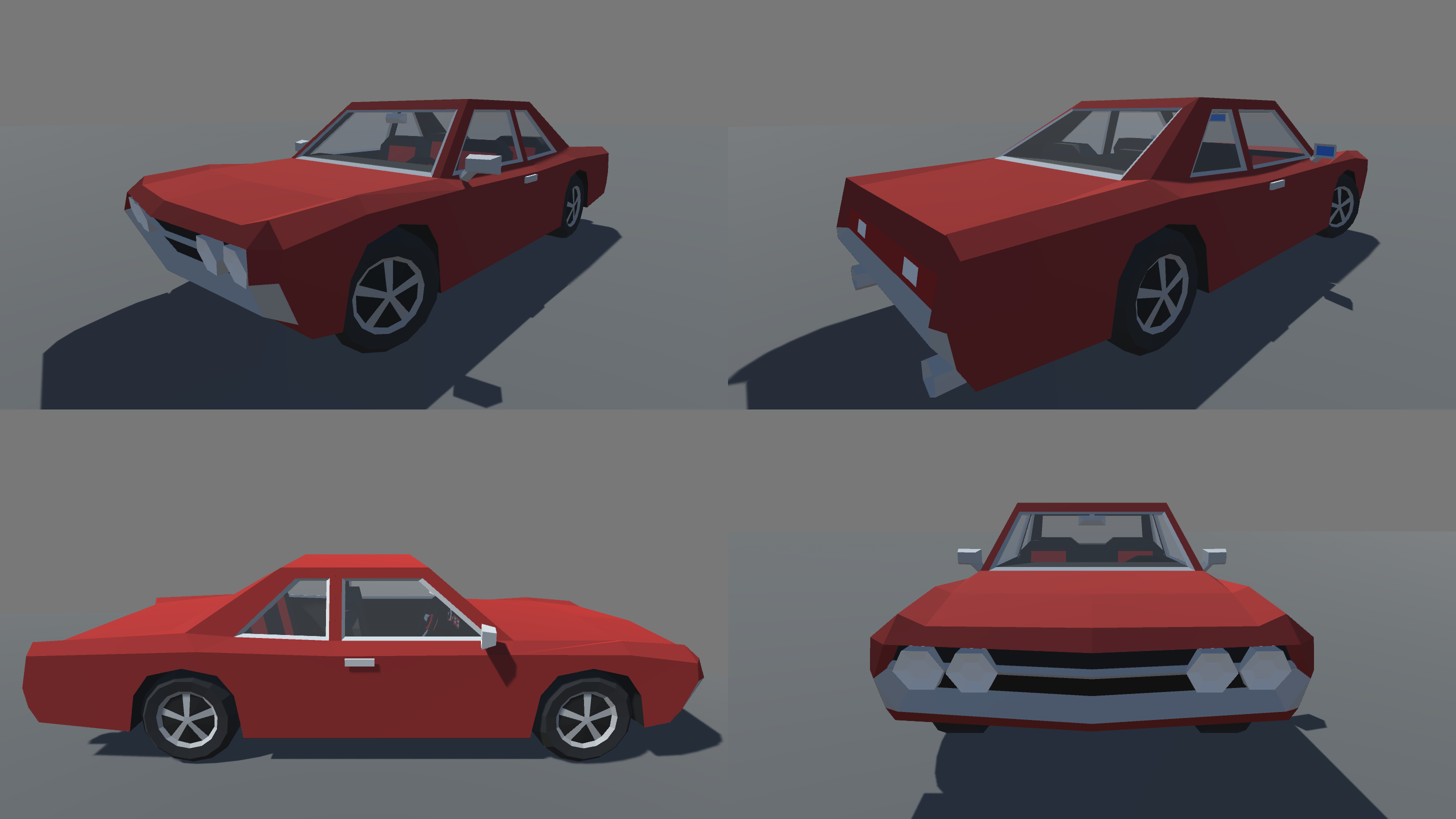 Low Poly 5 Muscle Cars With Interior Pack GAME READY
